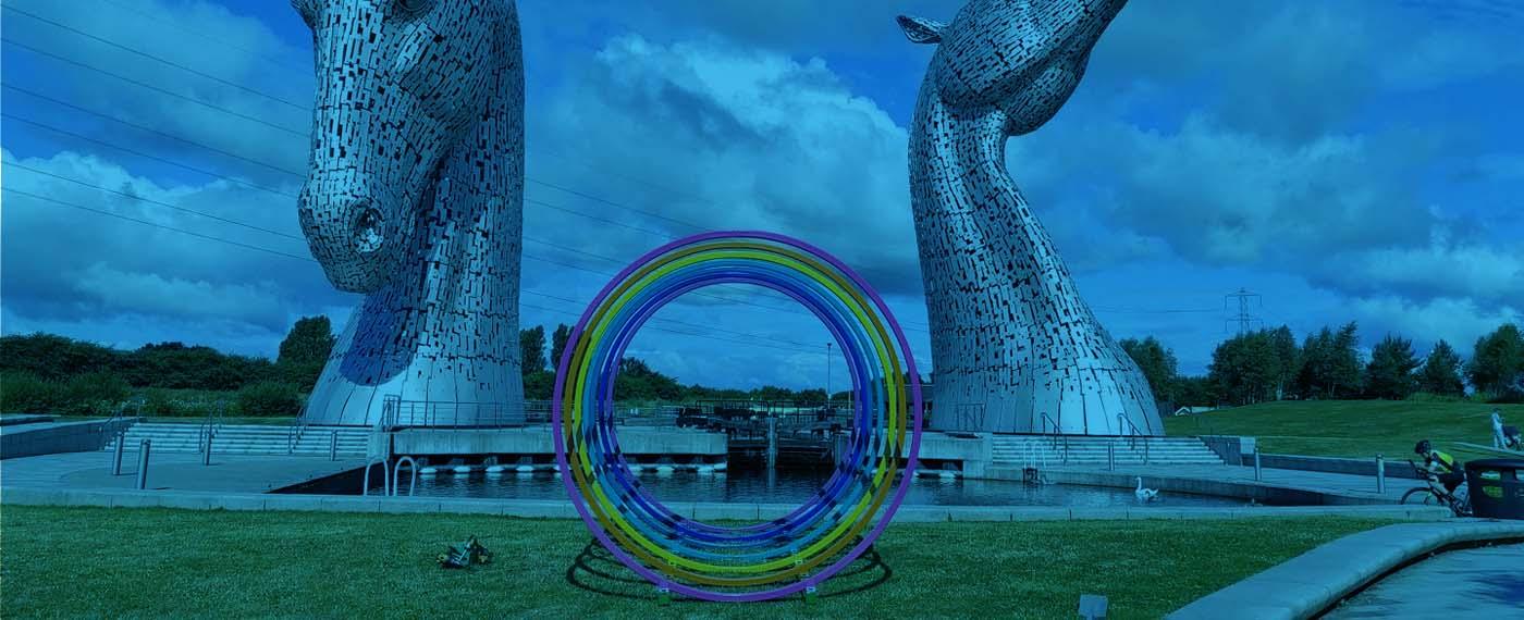Case Study - A vibrant sculpture bent by Barnshaws Scotland decorates the Scottish Canal landscape