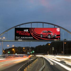 Digital motorway advertising arch