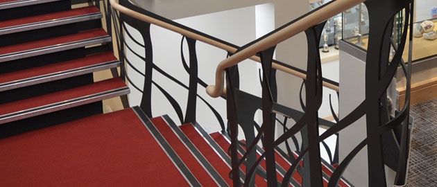 Stockport Grammar School's unique staircase incorporating curved steel profiles from Barnshaws Section Benders.