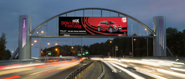 Digital motorway advertising arch